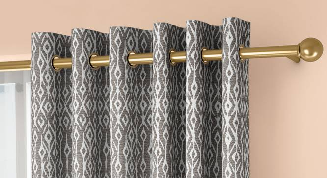 """Arygyle Window Curtains - Set Of 2 (Grey, 132 x 152 cm  (52"""" x 60"""") Curtain Size, Eyelet Pleat) by Urban Ladder - Front View Design 1 - 334136"""