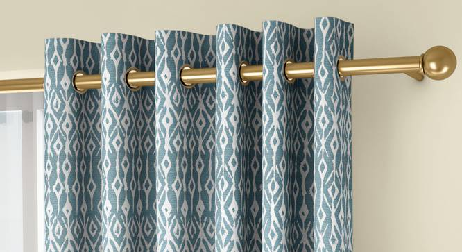 """Arygyle Window Curtains - Set Of 2 (Blue, 132 x 152 cm  (52"""" x 60"""") Curtain Size, Eyelet Pleat) by Urban Ladder - Front View Design 1 - 334138"""