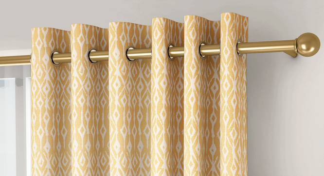 """Arygyle Door Curtains - Set Of 2 (Yellow, 132 x 213 cm  (52"""" x 84"""") Curtain Size, Eyelet Pleat) by Urban Ladder - Front View Design 1 - 334139"""