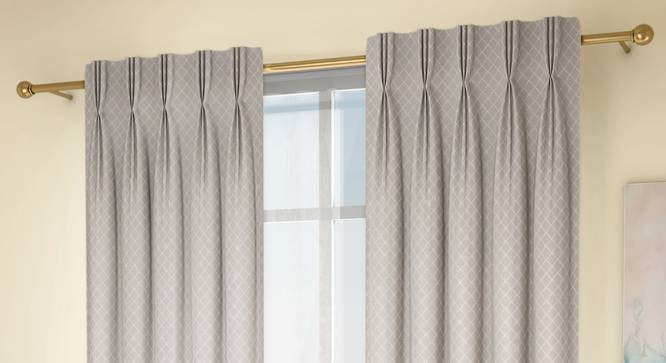 """Ditsy Door Curtains - Set Of 2 (Cream, 71 x 213 cm (28""""x84"""")  Curtain Size, American Pleat) by Urban Ladder - Design 1 Full View - 334181"""