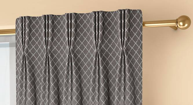 """Ditsy Door Curtains - Set Of 2 (Grey, 71 x 274 cm (28""""x108"""")  Curtain Size, American Pleat) by Urban Ladder - Front View Design 1 - 334193"""