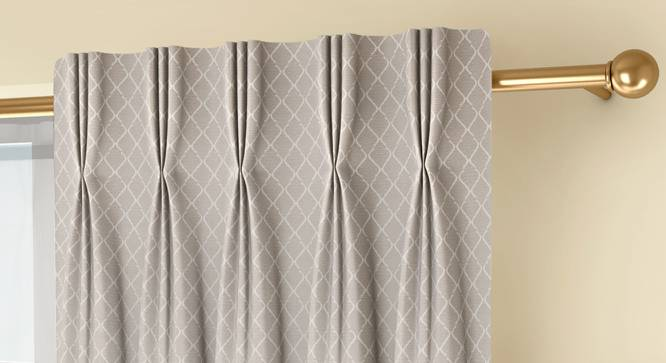 """Ditsy Door Curtains - Set Of 2 (Cream, 71 x 274 cm (28""""x108"""")  Curtain Size, American Pleat) by Urban Ladder - Front View Design 1 - 334194"""