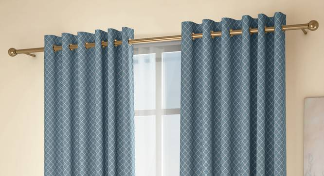 """Ditsy Door Curtains - Set Of 2 (Blue, 132 x 213 cm  (52"""" x 84"""") Curtain Size, Eyelet Pleat) by Urban Ladder - Design 1 Full View - 334231"""