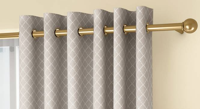 """Ditsy Door Curtains - Set Of 2 (Cream, 132 x 274 cm  (52""""x108"""") Curtain Size, Eyelet Pleat) by Urban Ladder - Front View Design 1 - 334237"""