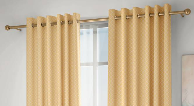 """Ditsy Door Curtains - Set Of 2 (Yellow, 132 x 274 cm  (52""""x108"""") Curtain Size, Eyelet Pleat) by Urban Ladder - Design 1 Full View - 334265"""