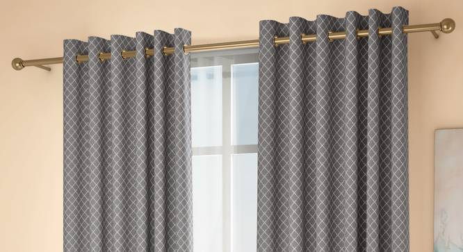 """Ditsy Door Curtains - Set Of 2 (Grey, 132 x 274 cm  (52""""x108"""") Curtain Size, Eyelet Pleat) by Urban Ladder - Design 1 Full View - 334267"""