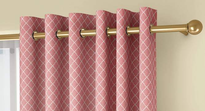 """Ditsy Door Curtains - Set Of 2 (Pink, 112 x 213 cm  (44"""" x 84"""") Curtain Size) by Urban Ladder - Front View Design 1 - 334269"""