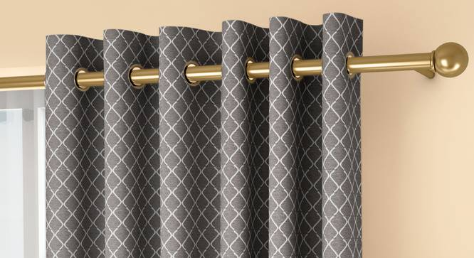 """Ditsy Door Curtains - Set Of 2 (Grey, 132 x 274 cm  (52""""x108"""") Curtain Size, Eyelet Pleat) by Urban Ladder - Front View Design 1 - 334274"""