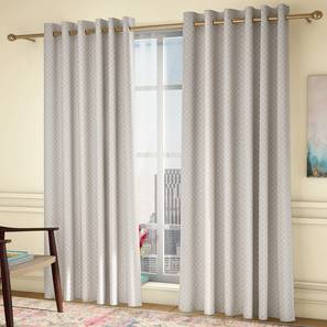 """Ditsy Window Curtains - Set Of 2 (Cream, 132 x 152 cm  (52"""" x 60"""") Curtain Size, Eyelet Pleat) by Urban Ladder - Design 1 Full View - 334308"""