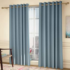 """Ditsy Window Curtains - Set Of 2 (Blue, 132 x 152 cm  (52"""" x 60"""") Curtain Size, Eyelet Pleat) by Urban Ladder - Design 1 Full View - 334309"""