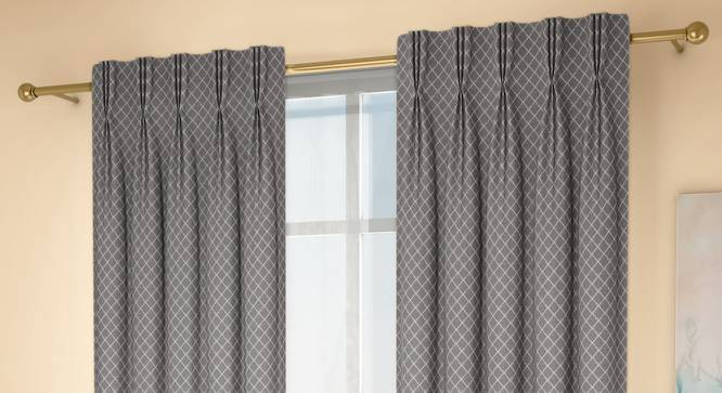 """Ditsy Window Curtains - Set Of 2 (Grey, 71 x 152 cm (28""""x60"""") Curtain Size, American Pleat) by Urban Ladder - Design 1 Full View - 334305"""