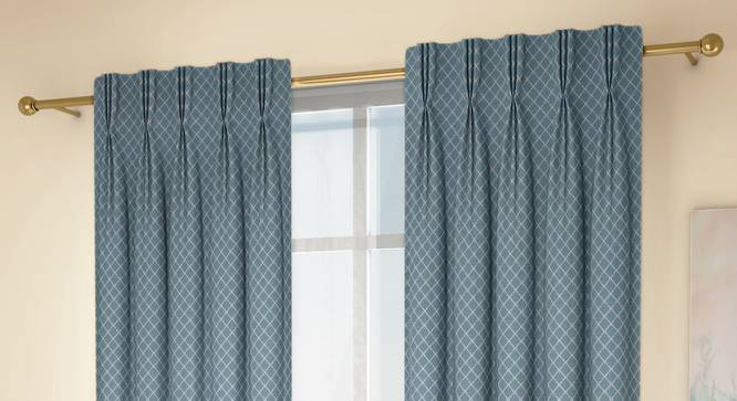 """Ditsy Window Curtains - Set Of 2 (Blue, 71 x 152 cm (28""""x60"""") Curtain Size, American Pleat) by Urban Ladder - Design 1 Full View - 334307"""