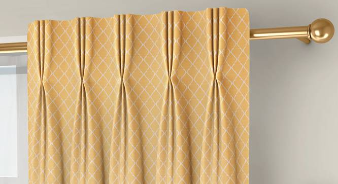 """Ditsy Window Curtains - Set Of 2 (Yellow, 71 x 152 cm (28""""x60"""") Curtain Size, American Pleat) by Urban Ladder - Front View Design 1 - 334310"""