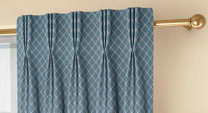"""Ditsy Window Curtains - Set Of 2 (Blue, 71 x 152 cm (28""""x60"""") Curtain Size, American Pleat) by Urban Ladder - Front View Design 1 - 334314"""