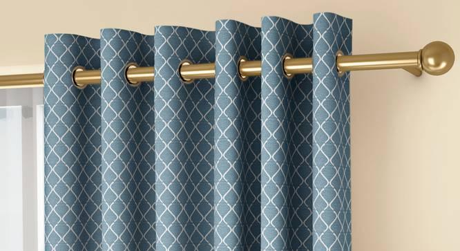 """Ditsy Window Curtains - Set Of 2 (Blue, 132 x 152 cm  (52"""" x 60"""") Curtain Size, Eyelet Pleat) by Urban Ladder - Front View Design 1 - 334316"""