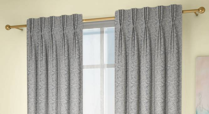 """Honeycomb Door Curtains - Set Of 2 (Blue, 71 x 274 cm (28""""x108"""")  Curtain Size, American Pleat) by Urban Ladder - Design 1 Full View - 334347"""