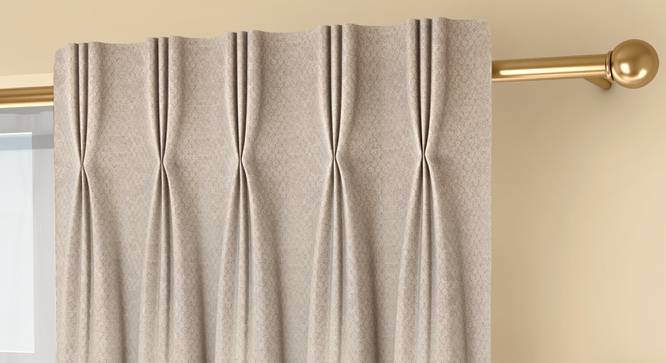 """Honeycomb Door Curtains - Set Of 2 (Beige, 71 x 213 cm (28""""x84"""")  Curtain Size, American Pleat) by Urban Ladder - Front View Design 1 - 334353"""