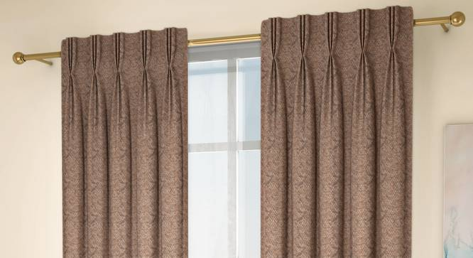 """Honeycomb Door Curtains - Set Of 2 (Brown, 71 x 274 cm (28""""x108"""")  Curtain Size, American Pleat) by Urban Ladder - Design 1 Full View - 334395"""