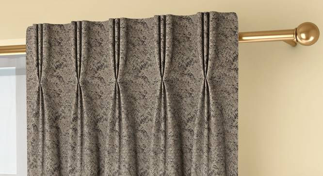 """Honeycomb Door Curtains - Set Of 2 (71 x 213 cm (28""""x84"""")  Curtain Size, Brownish Green, American Pleat) by Urban Ladder - Front View Design 1 - 334398"""
