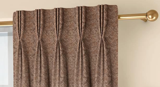 """Honeycomb Door Curtains - Set Of 2 (Brown, 71 x 213 cm (28""""x84"""")  Curtain Size, American Pleat) by Urban Ladder - Front View Design 1 - 334399"""