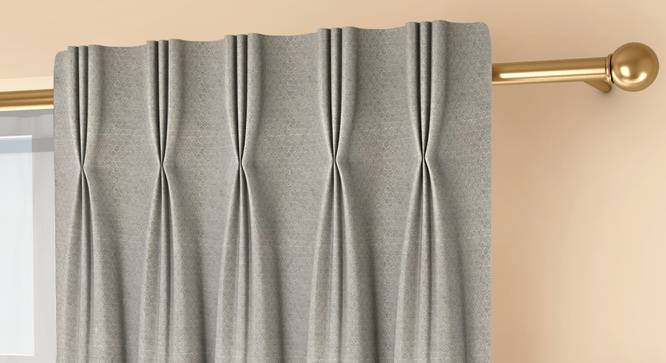 """Honeycomb Door Curtains - Set Of 2 (Grey, 71 x 274 cm (28""""x108"""")  Curtain Size, American Pleat) by Urban Ladder - Front View Design 1 - 334401"""