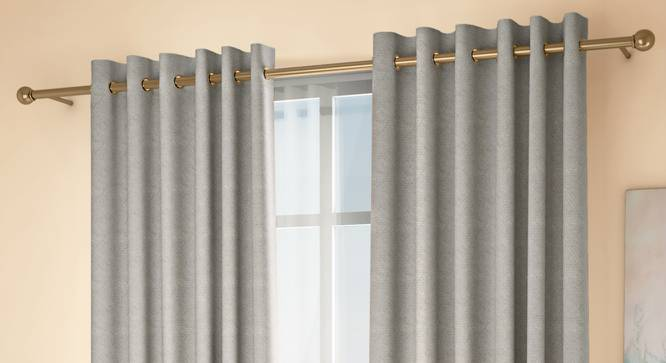 """Honeycomb Door Curtains - Set Of 2 (Grey, 132 x 274 cm  (52""""x108"""") Curtain Size, Eyelet Pleat) by Urban Ladder - Design 1 Full View - 334441"""