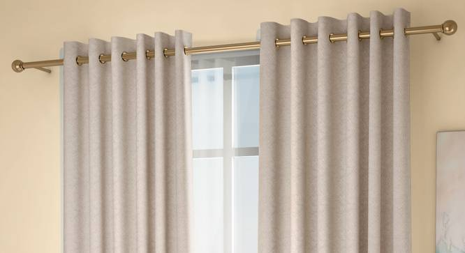 """Honeycomb Door Curtains - Set Of 2 (Beige, 132 x 274 cm  (52""""x108"""") Curtain Size, Eyelet Pleat) by Urban Ladder - Design 1 Full View - 334445"""