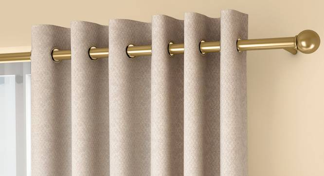 """Honeycomb Door Curtains - Set Of 2 (Beige, 132 x 213 cm  (52"""" x 84"""") Curtain Size, Eyelet Pleat) by Urban Ladder - Front View Design 1 - 334449"""