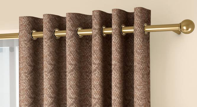"""Honeycomb Door Curtains - Set Of 2 (Brown, 132 x 274 cm  (52""""x108"""") Curtain Size, Eyelet Pleat) by Urban Ladder - Front View Design 1 - 334452"""