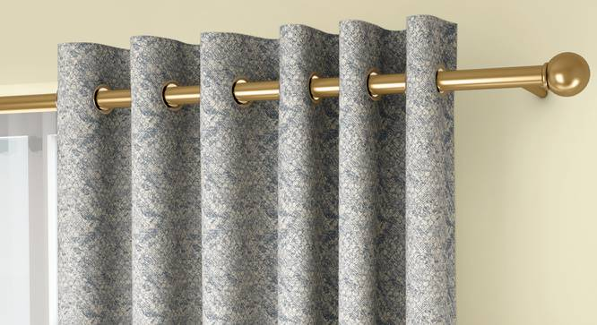 """Honeycomb Door Curtains - Set Of 2 (Blue, 132 x 274 cm  (52""""x108"""") Curtain Size, Eyelet Pleat) by Urban Ladder - Front View Design 1 - 334453"""
