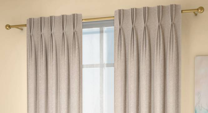 "Honeycomb Window Curtains - Set Of 2 (Beige, 71 x 152 cm (28""x60"") Curtain Size, American Pleat) by Urban Ladder - Design 1 Full View - 334496"