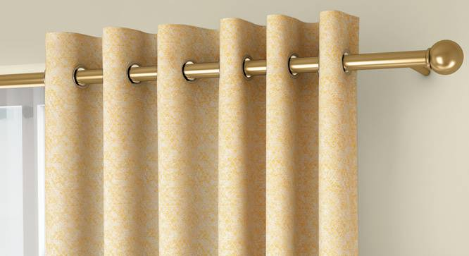"""Honeycomb Door Curtains - Set Of 2 (Yellow, 132 x 274 cm  (52""""x108"""") Curtain Size, Eyelet Pleat) by Urban Ladder - Front View Design 1 - 334508"""