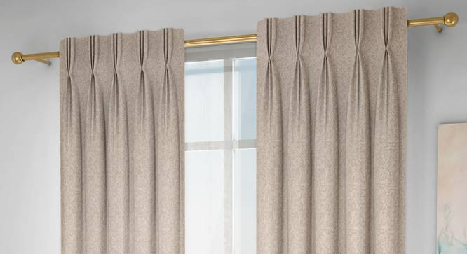 """Medallion Door Curtains - Set Of 2 (Beige, 71 x 213 cm (28""""x84"""")  Curtain Size, American Pleat) by Urban Ladder - Design 1 Full View - 334544"""