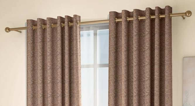 "Honeycomb Window Curtains - Set Of 2 (Brown, 132 x 152 cm  (52"" x 60"") Curtain Size, Eyelet Pleat) by Urban Ladder - Design 1 Full View - 334549"