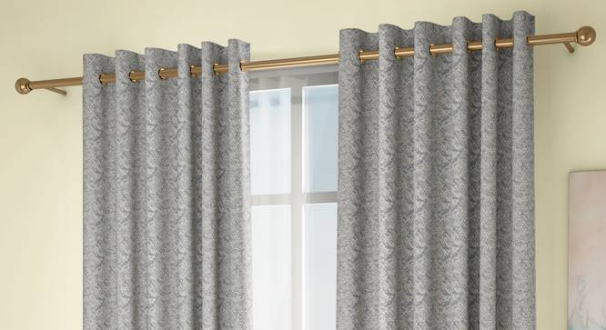 "Honeycomb Window Curtains - Set Of 2 (Blue, 132 x 152 cm  (52"" x 60"") Curtain Size, Eyelet Pleat) by Urban Ladder - Design 1 Full View - 334550"