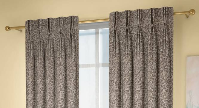 """Medallion Door Curtains - Set Of 2 (71 x 274 cm (28""""x108"""")  Curtain Size, Brownish Green, American Pleat) by Urban Ladder - Design 1 Full View - 334597"""