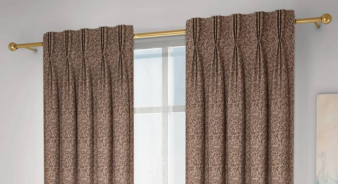 """Medallion Door Curtains - Set Of 2 (Brown, 71 x 274 cm (28""""x108"""")  Curtain Size, American Pleat) by Urban Ladder - Design 1 Full View - 334598"""