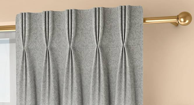 """Medallion Door Curtains - Set Of 2 (Grey, 71 x 213 cm (28""""x84"""")  Curtain Size, American Pleat) by Urban Ladder - Front View Design 1 - 334600"""