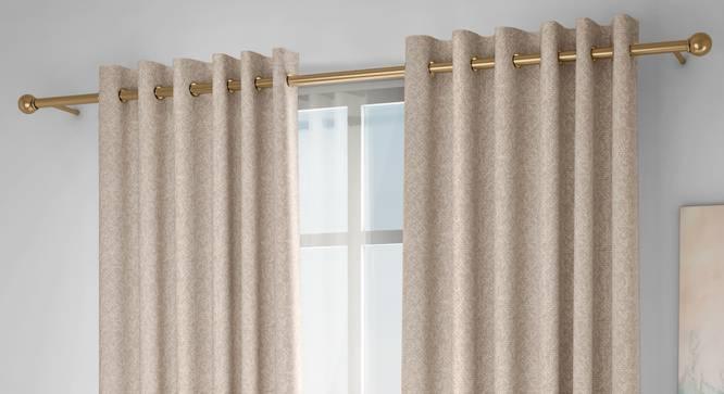 "Medallion Door Curtains - Set Of 2 (Beige, 132 x 213 cm  (52"" x 84"") Curtain Size, Eyelet Pleat) by Urban Ladder - Design 1 Full View - 334644"