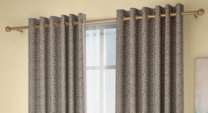 """Medallion Door Curtains - Set Of 2 (132 x 274 cm  (52""""x108"""") Curtain Size, Brownish Green, Eyelet Pleat) by Urban Ladder - Design 1 Full View - 334645"""
