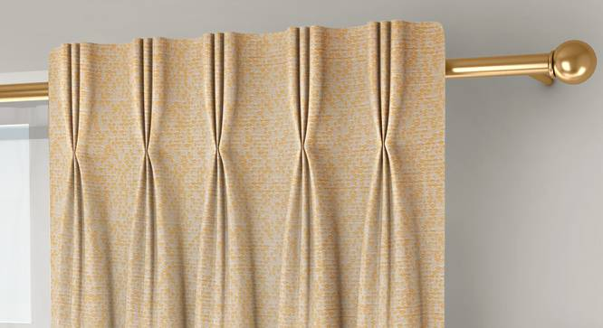"""Medallion Door Curtains - Set Of 2 (Yellow, 71 x 213 cm (28""""x84"""")  Curtain Size, American Pleat) by Urban Ladder - Front View Design 1 - 334649"""