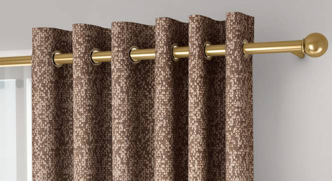 """Medallion Door Curtains - Set Of 2 (Brown, 132 x 274 cm  (52""""x108"""") Curtain Size, Eyelet Pleat) by Urban Ladder - Front View Design 1 - 334655"""