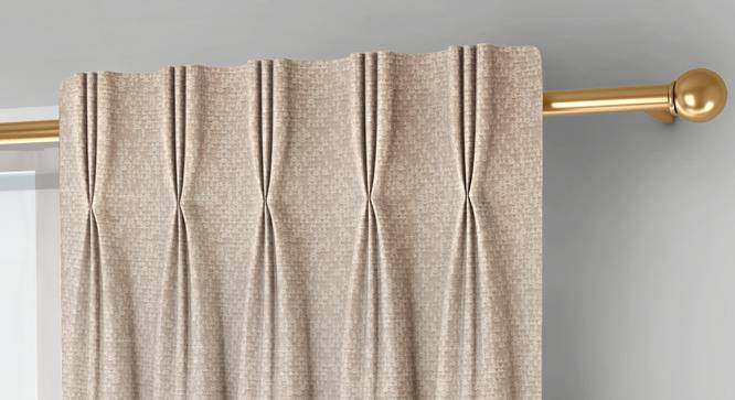 """Medallion Window Curtains - Set Of 2 (Beige, 71 x 152 cm (28""""x60"""") Curtain Size, American Pleat) by Urban Ladder - Front View Design 1 - 334698"""
