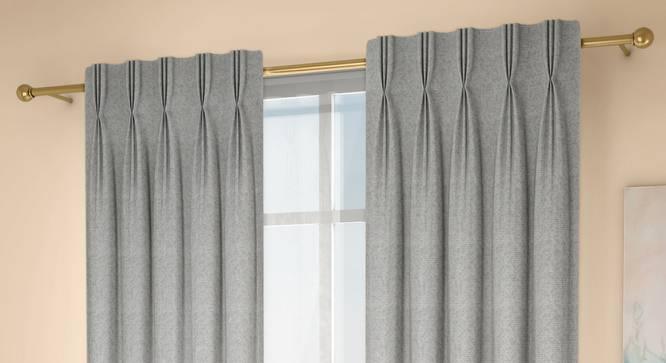 "Medallion Window Curtains - Set Of 2 (Grey, 71 x 152 cm (28""x60"") Curtain Size, American Pleat) by Urban Ladder - Design 1 Full View - 334737"