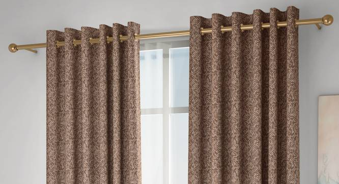 """Medallion Window Curtains - Set Of 2 (Brown, 132 x 152 cm  (52"""" x 60"""") Curtain Size, Eyelet Pleat) by Urban Ladder - Design 1 Full View - 334741"""