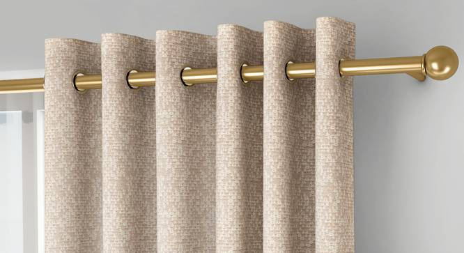 """Medallion Window Curtains - Set Of 2 (Beige, 132 x 152 cm  (52"""" x 60"""") Curtain Size, Eyelet Pleat) by Urban Ladder - Front View Design 1 - 334751"""