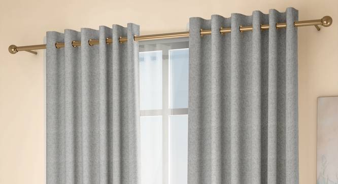 "Medallion Window Curtains - Set Of 2 (Grey, 132 x 152 cm  (52"" x 60"") Curtain Size, Eyelet Pleat) by Urban Ladder - Design 1 Full View - 334779"