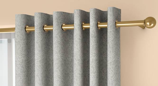 """Medallion Window Curtains - Set Of 2 (Grey, 132 x 152 cm  (52"""" x 60"""") Curtain Size, Eyelet Pleat) by Urban Ladder - Front View Design 1 - 334781"""