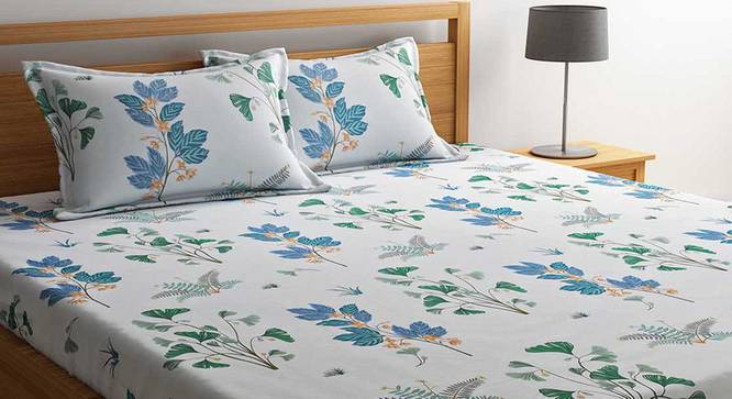 Alma Bedsheet Set (White, Queen Size) by Urban Ladder - Cross View Design 1 - 334852