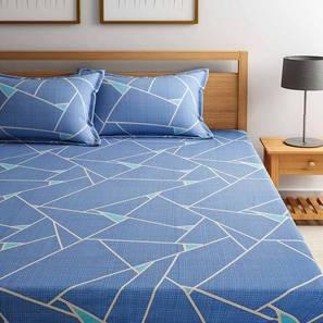 Soto Bedsheet Set (Blue, Queen Size) by Urban Ladder - Design 1 Full View - 334879